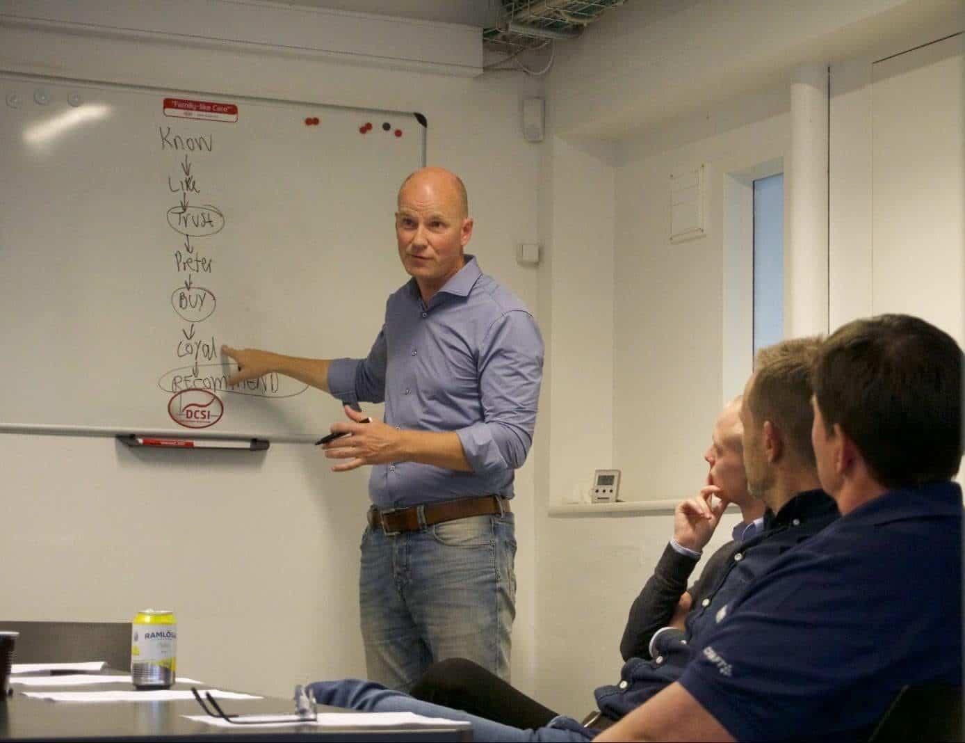 Workshop med Ulrich der forklarer ledelse